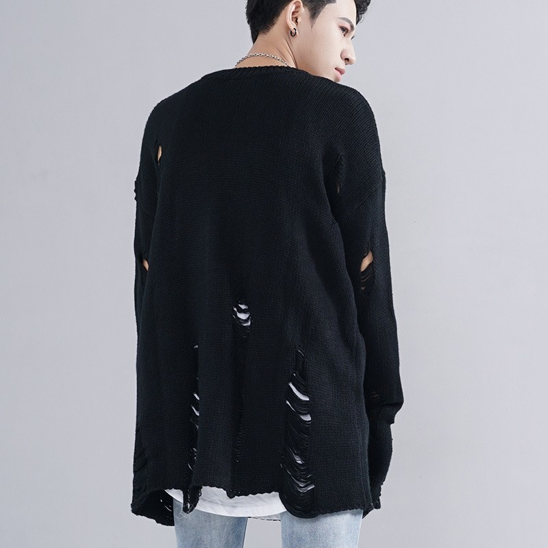 2020 High Street Personality Baggy Mens Pullover Loose Lovers Kitted Sweater Fashion Hole Ripped Black Casual Sweaters For Men