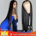 Парик из человеческих волос с прямыми косточками, парики с прозрачной сеткой спереди, парики плотностью 180, 30 дюймов, прямые парики с T-образн...