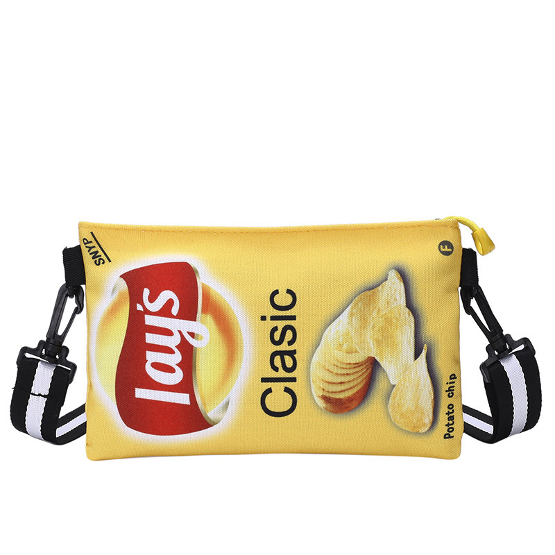 Funny Potato Chips Crossbody Handbag Women Canvas Shoulder Bag Mini Cartoon Printing Girl Envelope Bags Female Clutch Cute Purse 7