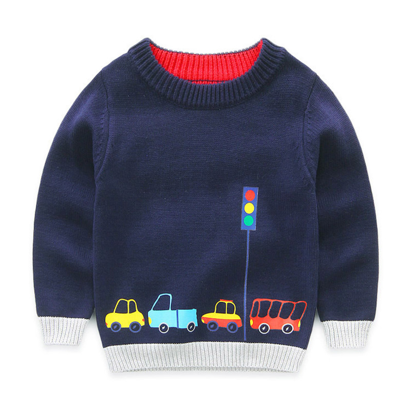 Boys Cotton Sweaters,Kids O-Neck Winter Clothes,Children Car Printed Casual Outerwear 1