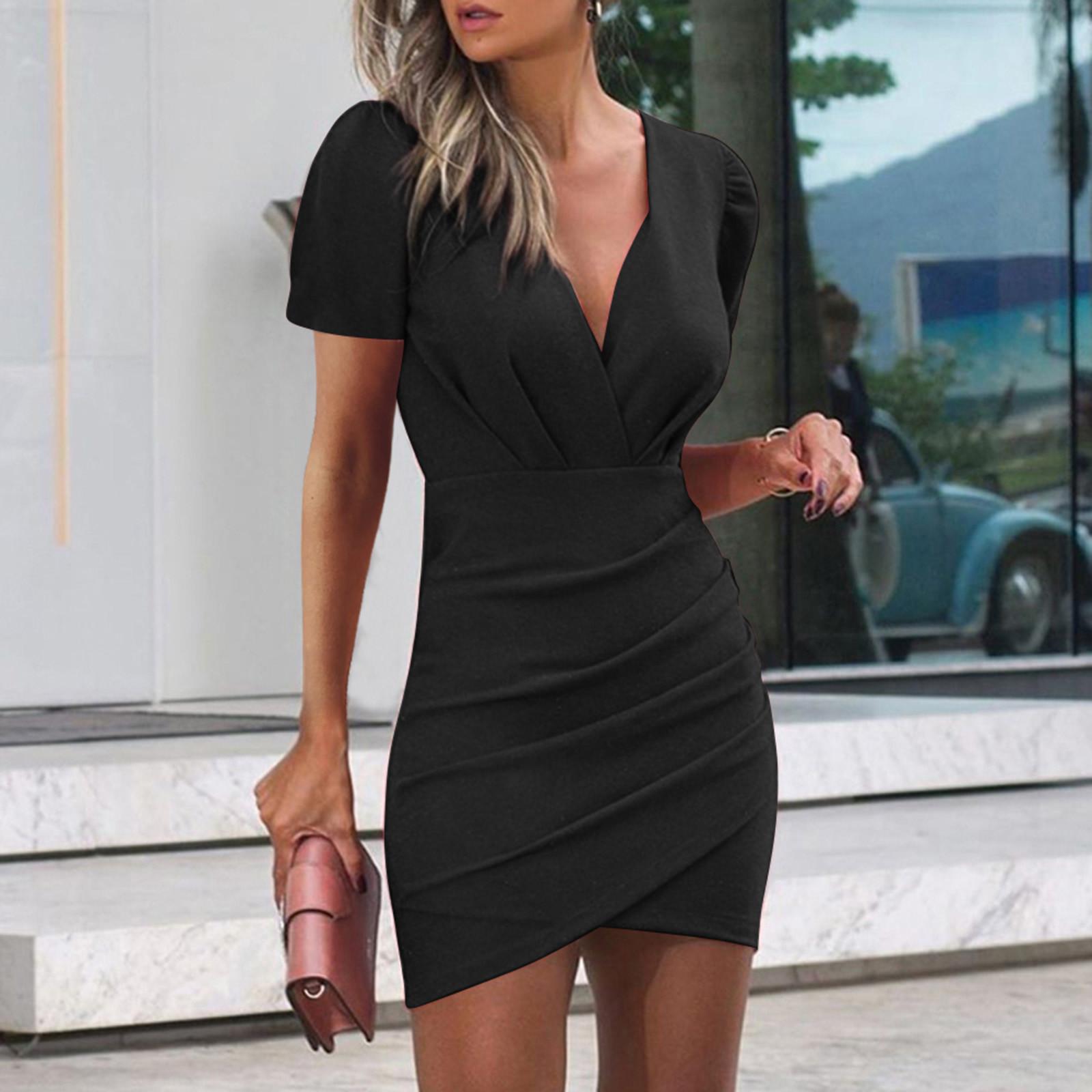 F# Office Lady Women's Dress Bodycon Bandage Pleated Dresses Sexy Solid Color V neck Sleeveless Short Sleeve Sheath Mini Dress