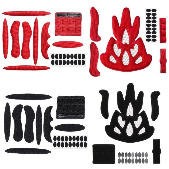 27 pçs universal capacete interno almofadas de espuma estofamento kit selado esponja vermelha para esportes ao ar livre ciclismo acessórios da motocicleta bicicleta 2