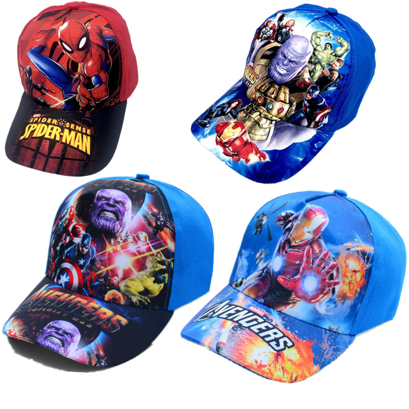 The Avengers Hat Model Marvel Hip Hop Cap Spiderman Figurines Kids Toys Hulk Captain America Superman Batman