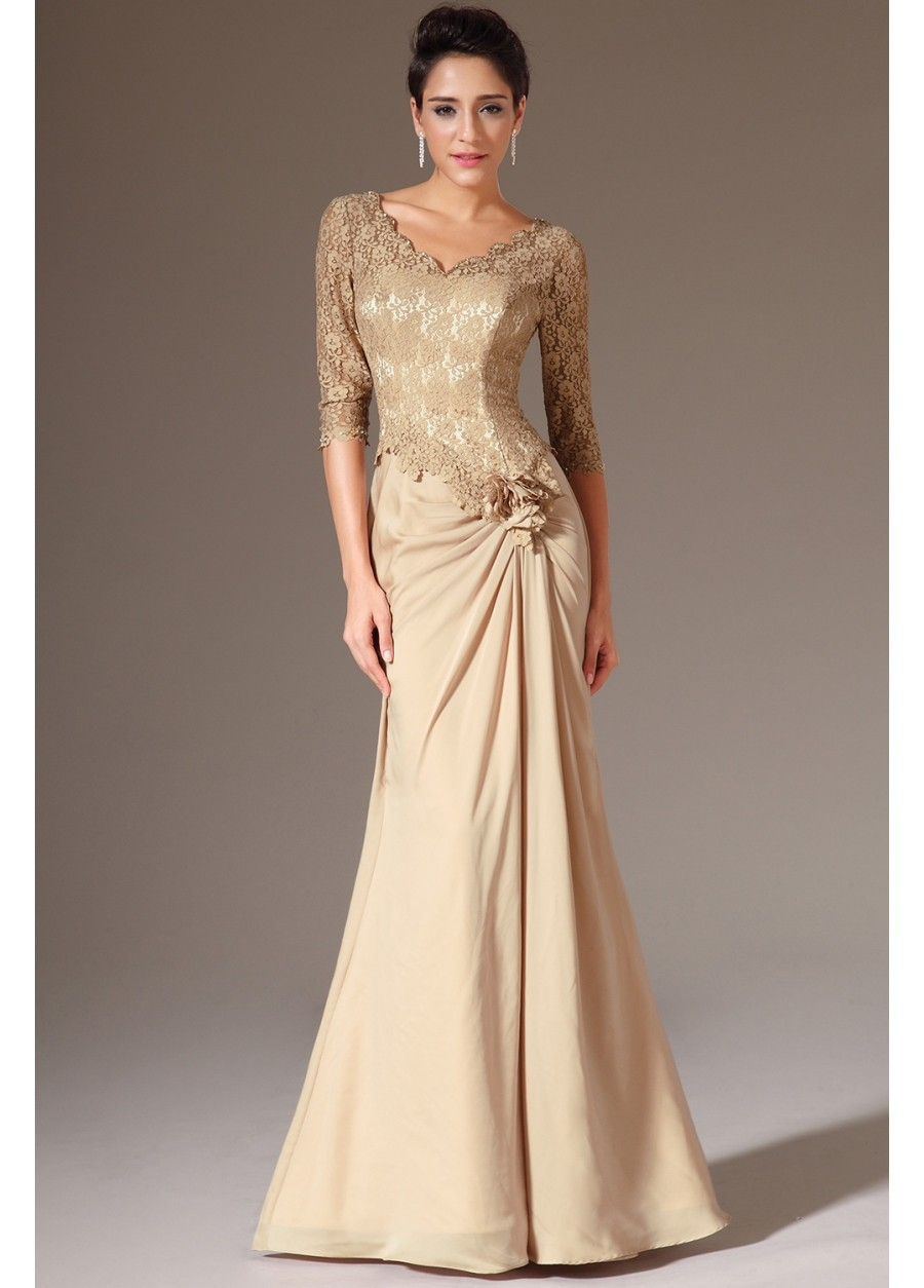 vestido de festa sexy v-neck 2018 lace sleeves flower formal party prom gown evening elegant women mother of the bride dresses