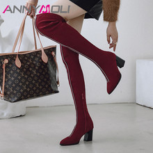 ANNYMOLI Winter Over the Knee Boots Women Zip Block High Heel Thigh High Boots Slim Stretch Pointed Toe Shoes Ladies Autumn 3-12 недорого