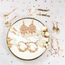 Korea Handmade Irregular Drop Pearl Earrings for Women Elegant Matte Metal Gold Square Imitation