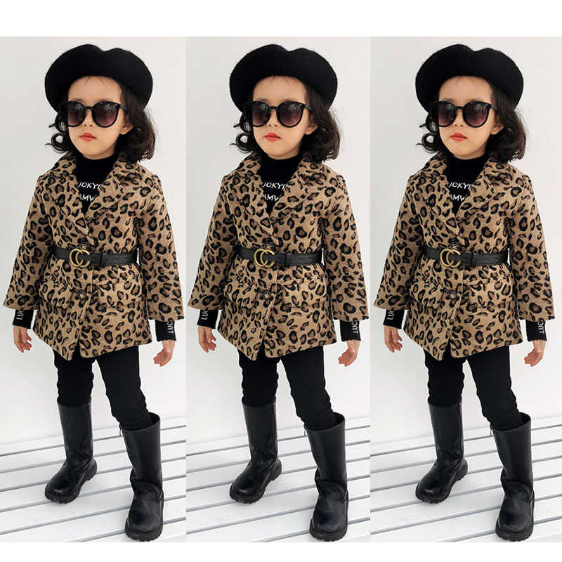 Leopard Woolen Jackets for Kids Girls 2019 Autumn Blazers Jackets Children Blends Coat Turn-down Collar Wool Coat Kids Leopard