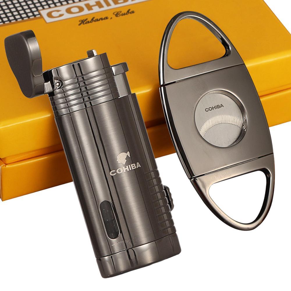 COHIBA Lighter Cigar Cutter Set Butane Gas Torch Cigar Lighter Jet Turbo Lighters Metal Stainless Steel Cigar Cutter Sharp
