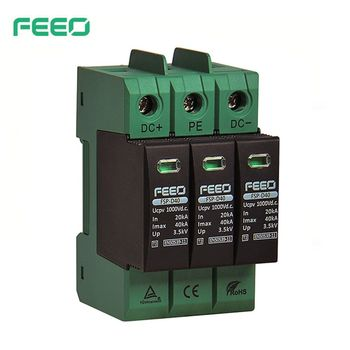 FEEO SPD DC 3P 1000V 1500V 20KA~40KA House Surge Protector Protective Low-voltage Arrester Device TUV & CE Certificate 2p surge protective device dc photovoltaic lightning protector low voltage arrester