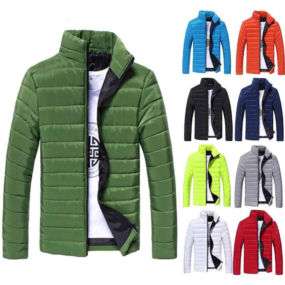 Erkek ceket öğrenci düz renk Parkas standı yaka uzun kollu sıcak pamuk kapitone ceket ceket