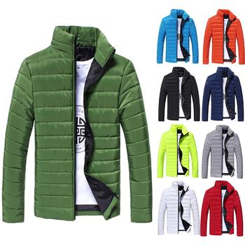 Men Coat Student Solid Color Parkas Stand Collar Long Sleeve Warm Cotton Quilted Coat Jacket