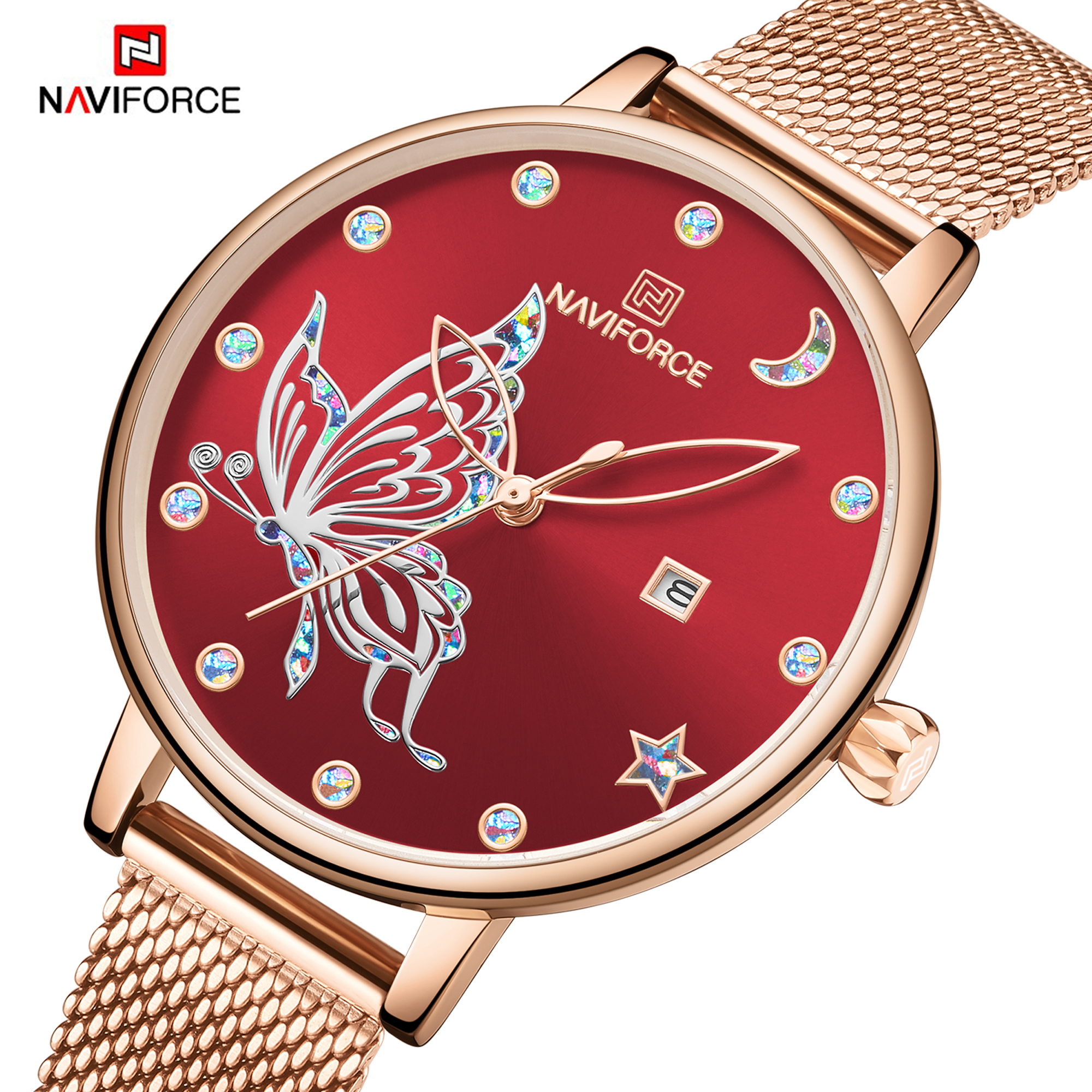 2019 NAVIFORCE Luxury Brand Women Watches Fashion Casual Quartz Ladies wrist watch Steel strap Waterproof Clock Relogio Feminino title=