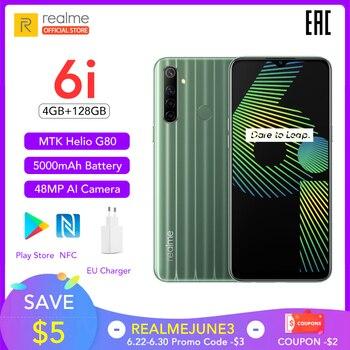 Перейти на Алиэкспресс и купить Realme 6i белый новая глобальная версия 4 Гб RAM 128 ГБ ROM мобильный телефон Mediatek Helio G80 5000 мАч аккумулятор 6,5 дюймDewdrop display