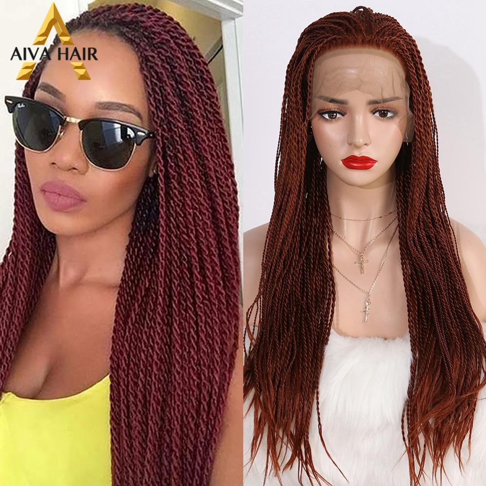 Aiva Hair Heat Resistant Synthetic Lace Front Wig Reddish Brown Long Cosplay Twist Wig Glueless Braided Wigs For Black Women