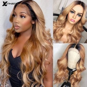1B/27 Ombre Color Honey Blonde Lace Frontal Wig Brazilian Body Wave Remy 13x6x1 Lace Front Wigs Pre Plucked Bleached Knots