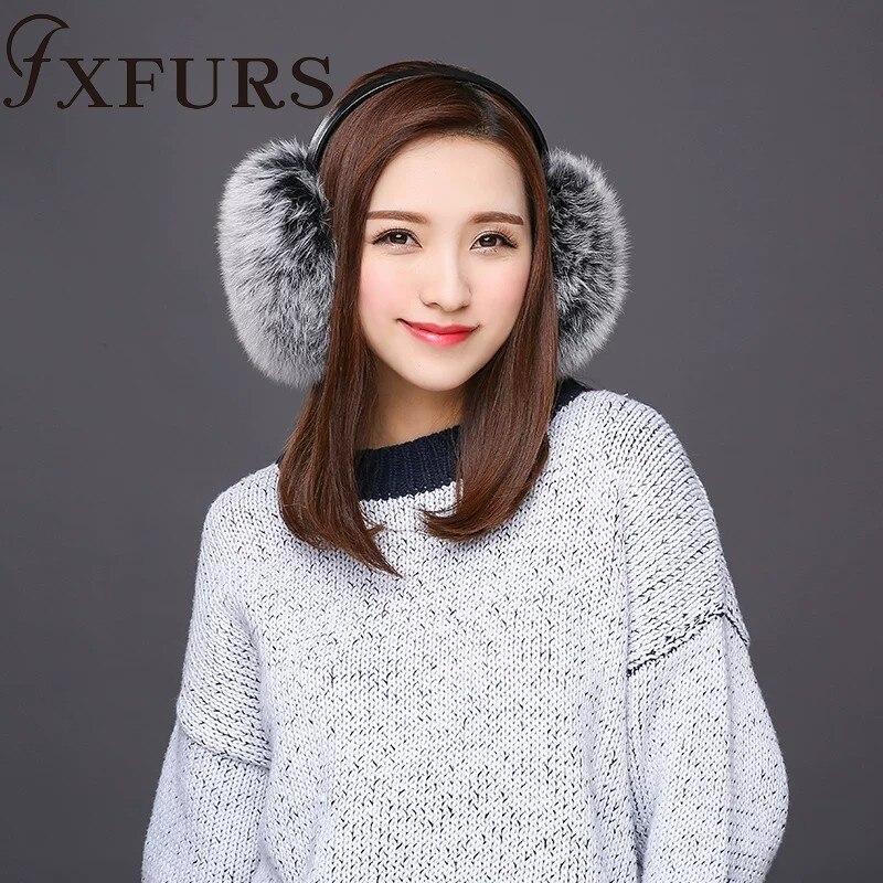 FXFURS 2019 New Fashion Cute Oversized Fox Fur Earmuffs Warm Fur Real Fur Earflaps With Leather Shelf Women Ear Protector Winter