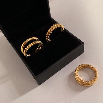 Peri #8217 sBox 3 rozmiary dwurzędowe skręcone pierścienie złoty kolor srebrny Rope Rings dla kobiet minimalistyczna biżuteria wieżowych pierścieni 2020 Trendy tanie i dobre opinie Peri sBox Miedzi Kobiety Metal Zespoły weselne GEOMETRIC Wszystko kompatybilny R0135 Brak Moda Party Pierścionki Gold Silver