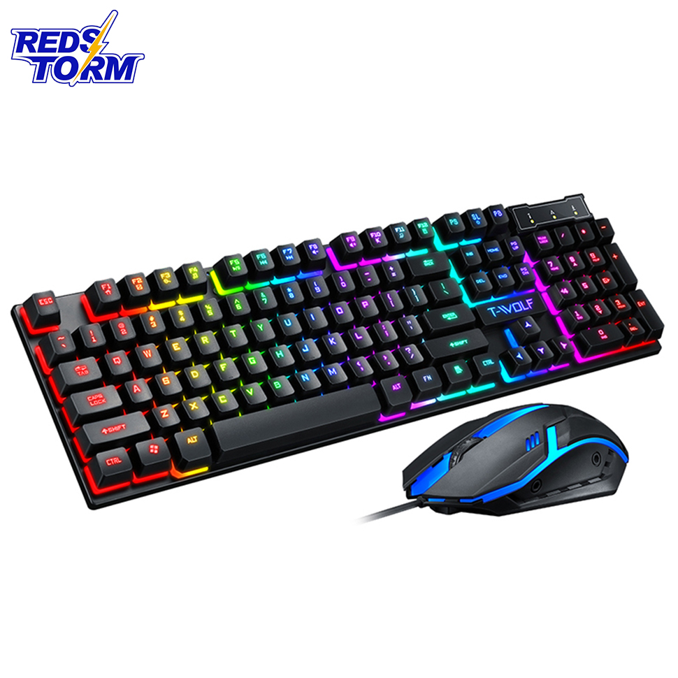Gaming Keyboard And Gaming Mouse Wired Keyboard With LED Backlight Keyboard Gamer Kit Silent Gaming Mouse Set For PC Laptop