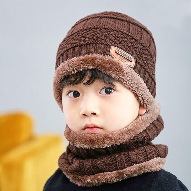 Новая модная Высококачественная зимняя детская вязаная шапка, шарф, комплект из 2 предметов, Детские утепленные бархатные шапочки, теплая шапка для мальчиков и девочек - Цвет: Coffee