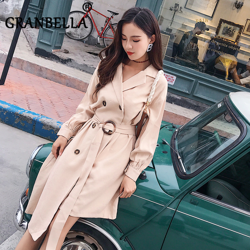 2019 A-Line Loose Double-breasted Fastened Knee Women   Trench   Coat Lapel Silm Office Lady Women Windbreaker Elegant