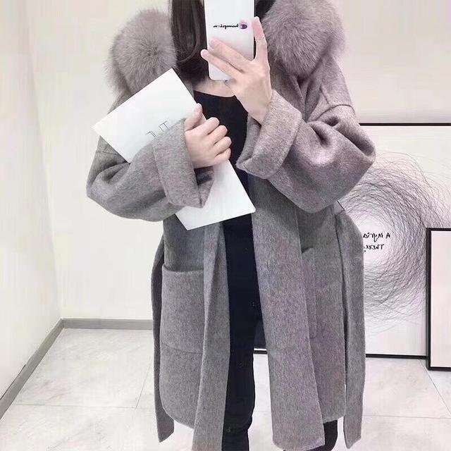 Brand famous Real Cashmere wool Coat With natural Fox Fur Trim Hoodie  ladies real fur Coats Outwear 3