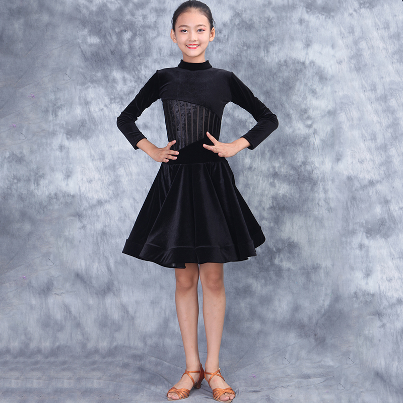 2020 Latin Dance Clothing For Girls Practice Clothes Children's Latin Dance Dress Black Long Sleeve Competition Dresses