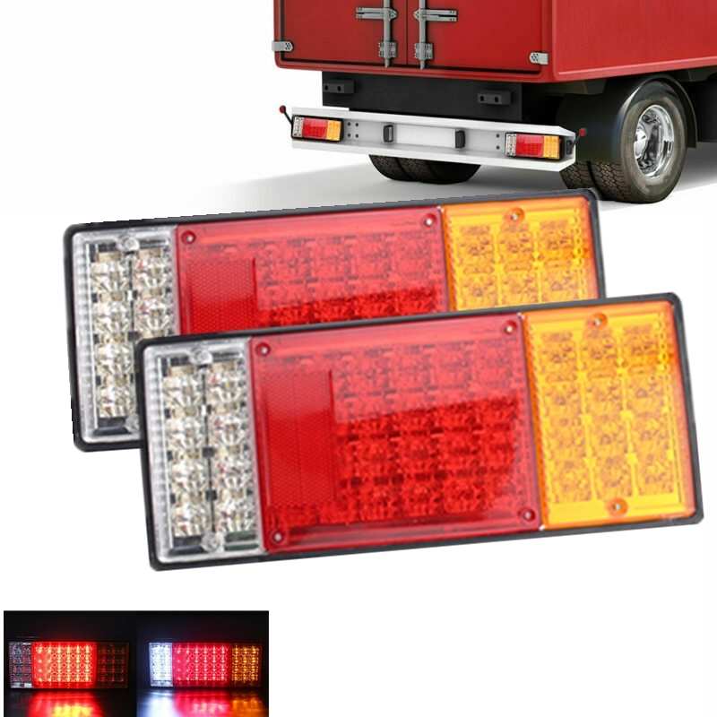 Universal 2x 12V LED Rear Tail Stop Lights Indicaror Lamps Truck Lorry Trailer Chassis Caravan