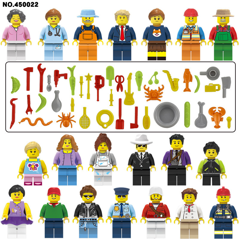 20pcs/lot City Figure Set With Tool Police Firemen Doctor Constructor Teacher Building Blocks Model Toys For Children Legoing