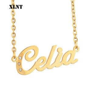 XLNT Celia именное ожерелье персонализированное имя ожерелье для женщин мужчин Глянцевая подвеска из нержавеющей стали индивидуальный подарок...