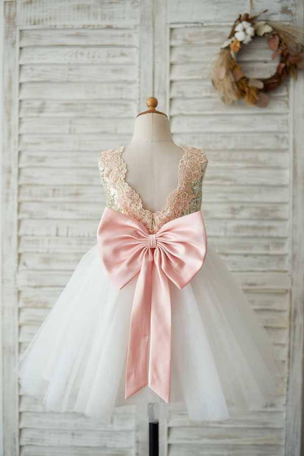 Nueva flor chica bola Gowm vestido 2020 lentejuelas brillantes encaje faja tul vestido sin mangas con lazo grande para fiesta de boda
