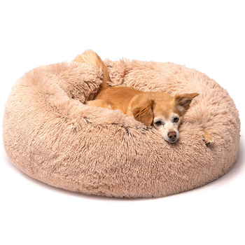 Long Plush Super Soft Dog Bed Pet Kennel Round Sleeping Bag Lounger Cat House Winter Warm Sofa Basket for Small Medium Large Dog image