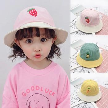 Kids Summer Patchwork Fruit Sun Protection Hat Foldable Wide Brim Beach Bucket Sunscreen Cap For Girls Boys Fishermans