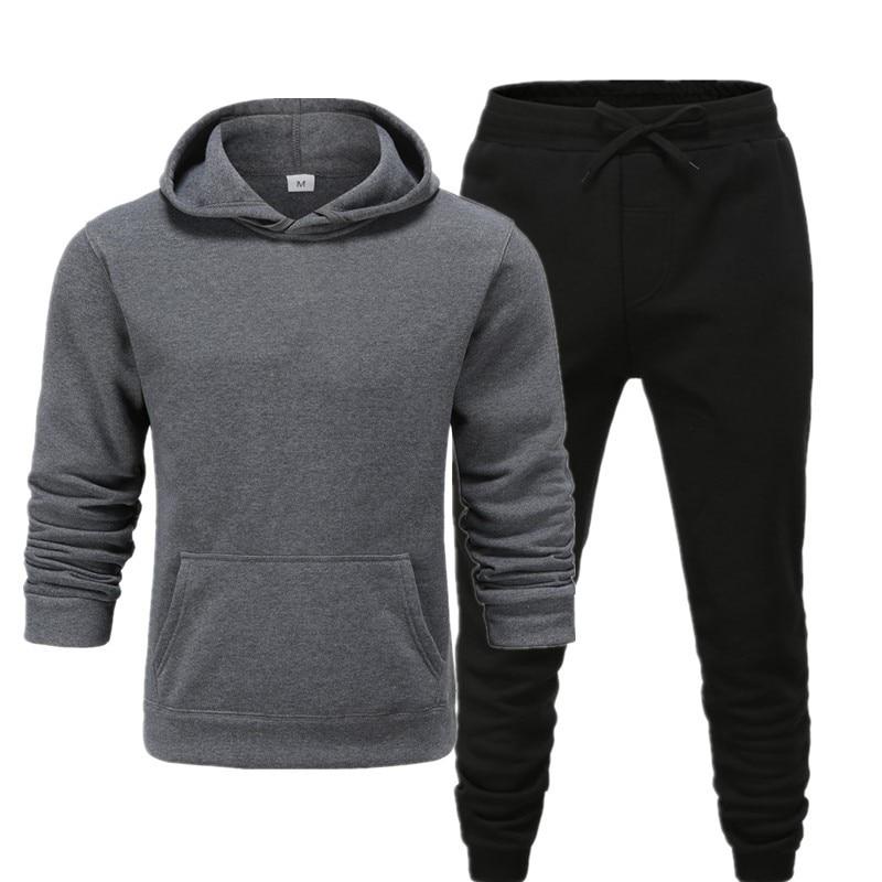 YUSHU Men Tracksuit Cotton Sportswear Sets 2020 Autumn Winter Fleece Hip Hop Sweatshirt + Sweatpants 2 Pieces Mens Clothing
