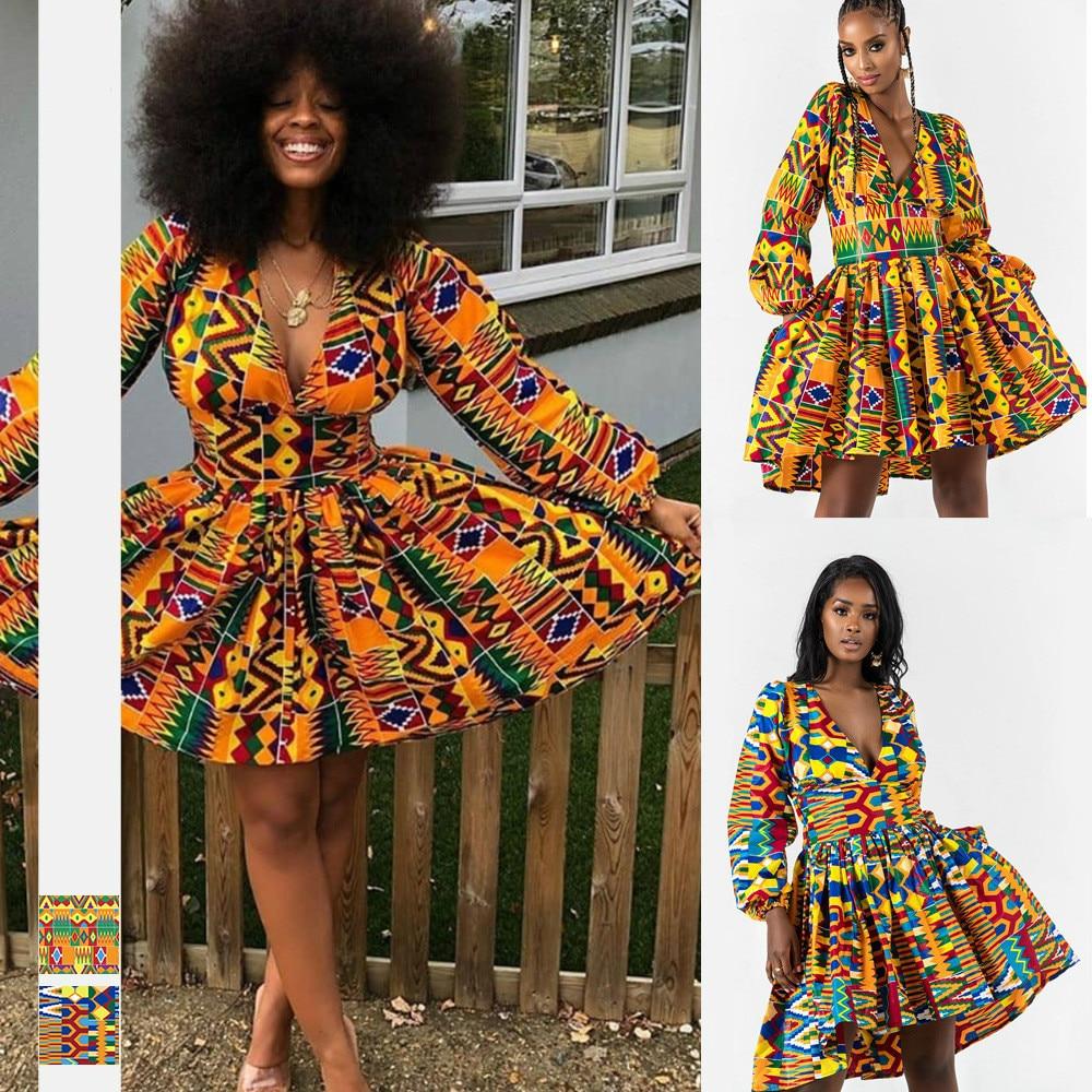 2019 Autumn Sexy Fashion African Women V-neck Polyester Printing Plus Size Dress