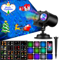 2019 New Magic Stage Laser Projector Lamp 12 Holiday Card Ocean Wave Full Sky Light Double Tube Outdoor Home Christmas Decorate