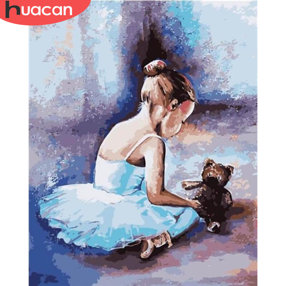HUACAN Oil Painting Girl Kits Drawing Canvas HandPainted Pictures By Numbers Ballet Home Decoration Gift Art Diy