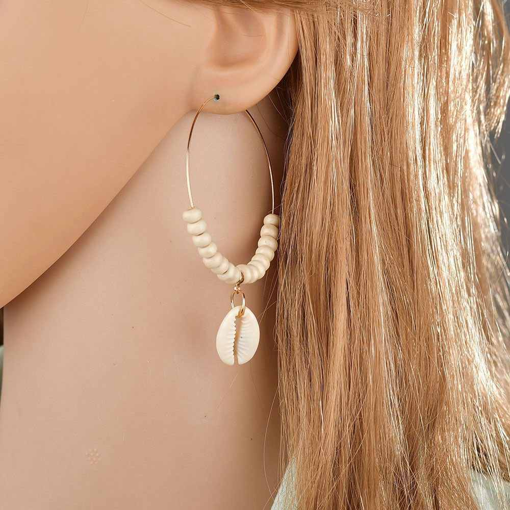 E564 Ethnic Shell Pendant Beaded Bohemia Hoop Earrings Big Size Women Statement Earring Summer Beach Accessories Ear Ring