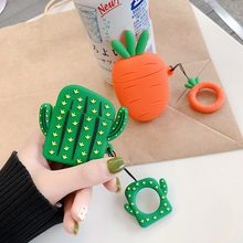 Cute Carrot Cactus Silicone Bluetooth Earphone Case For Apple AirPods TPU Protection Cover For Airpods Charging Box Funda(China)