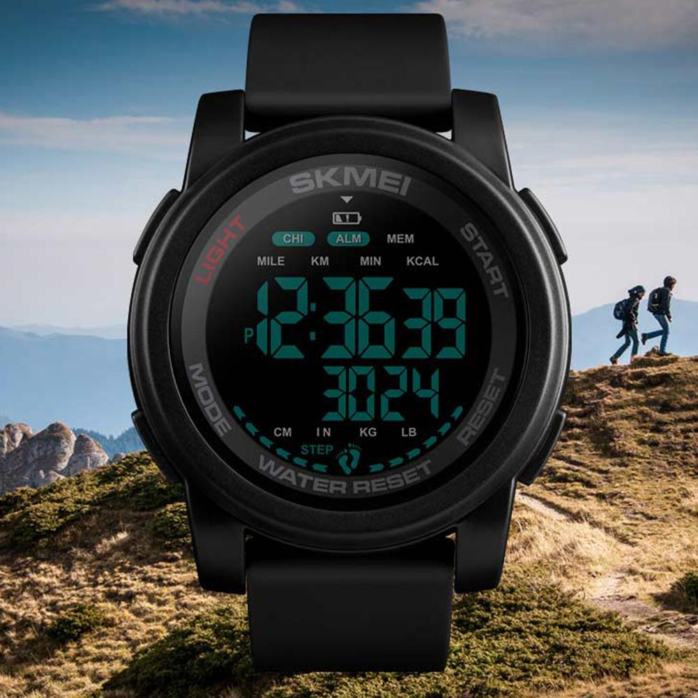 SKMEI 1469 Multi-function Sports Pedometer Waterproof Round Data Storage Luminous Electronic Digital Wrist Watch