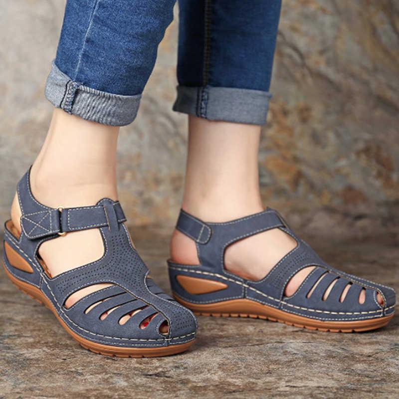 女性サンダルソフト底ウェッジ女性の夏のサンダルウェッジヒールグラディエーターサンダル靴カジュアルビーチ Chaussures ファム