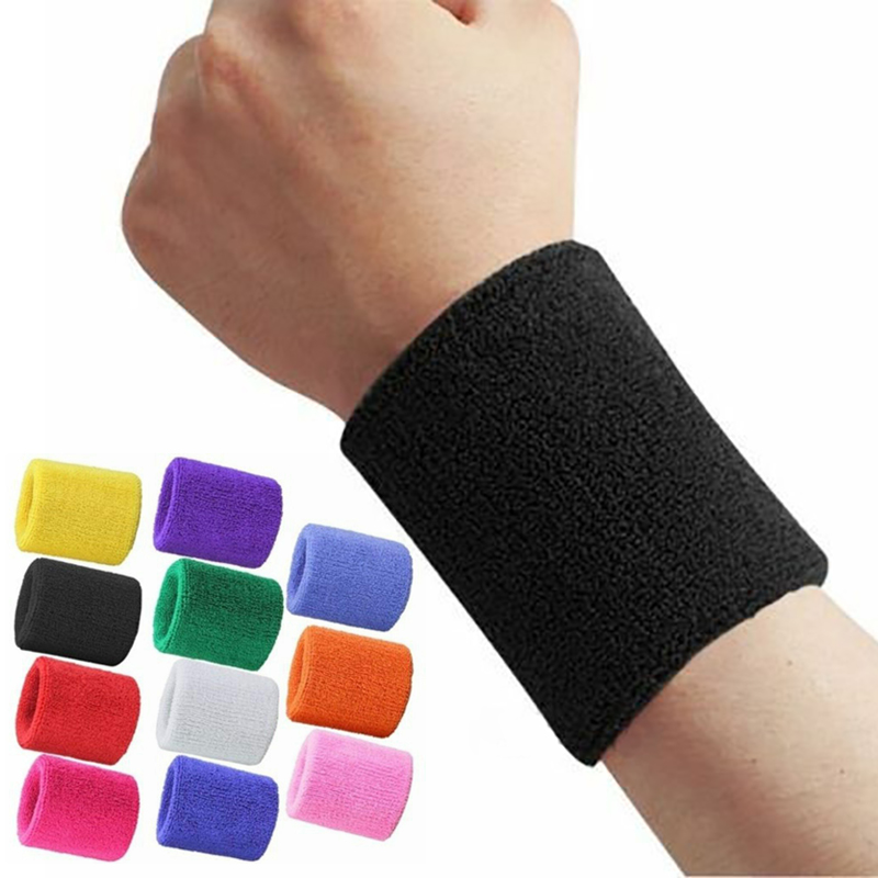 Unisex Terry Cloth Cotton Sweatband Sports Wrist Tennis Yoga WristBand Arm Sweat Absorb Sleeve Towel Band Bracers Wrist Wrap