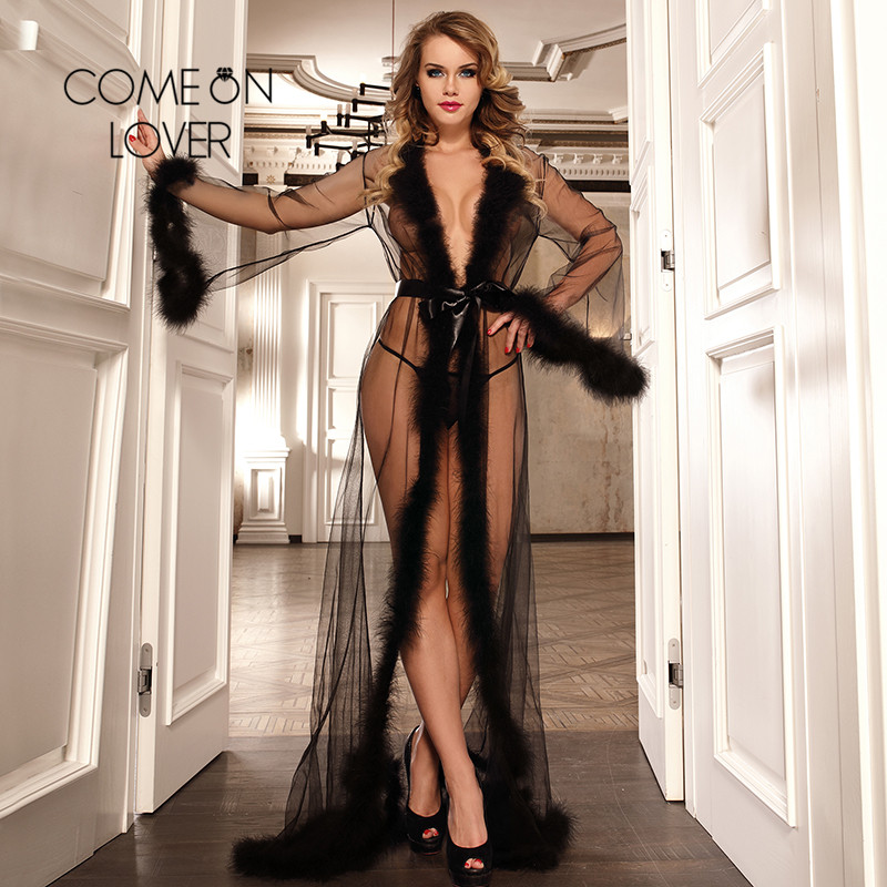 Comeonlover Lace Long Sleepwear Gown Full Sleeves Robe Chemise Dress Silk Belt Perspective Sexy Women Erotic Feathers RE80759