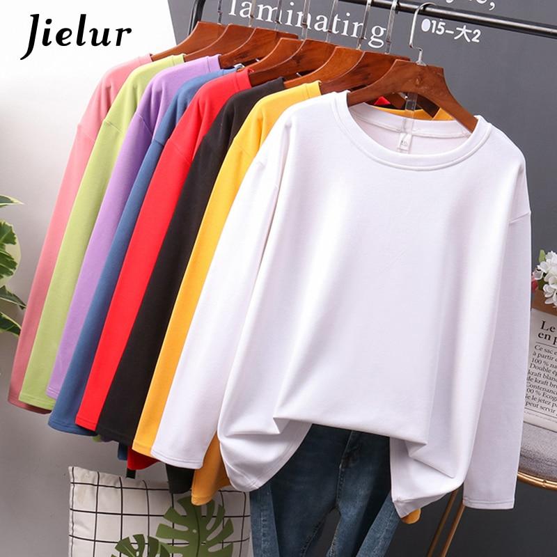 Jielur 2020 Autumn New Cotton T shirt Female Pure Color Long Sleeve Women's T-shirts Plus Size M-4XL Yellow White Basic Tee Tops 1