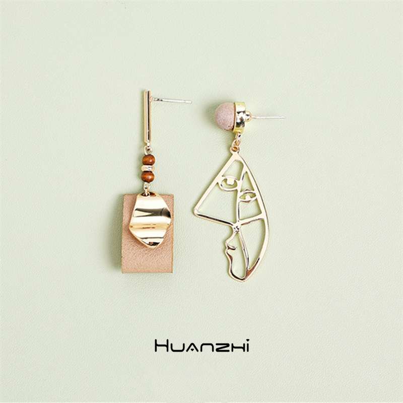 HUANZHI 2019 s925 Asymmetry Hollow Geometric Human Face Abstract Wood Beads Drop Earrings for Woman Party Gift Jewellery