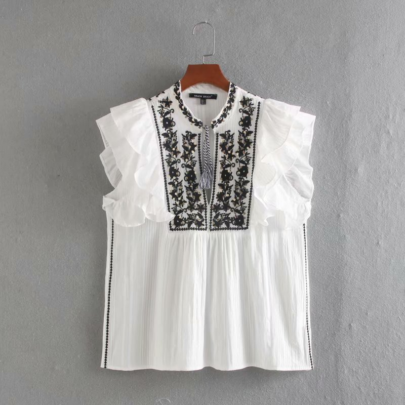 New Women Elegant Stand Collar Embroidery White Blouse Sequins Decoration Casual Shirt Ruffles Femininas Blusas Chic Tops LS6520