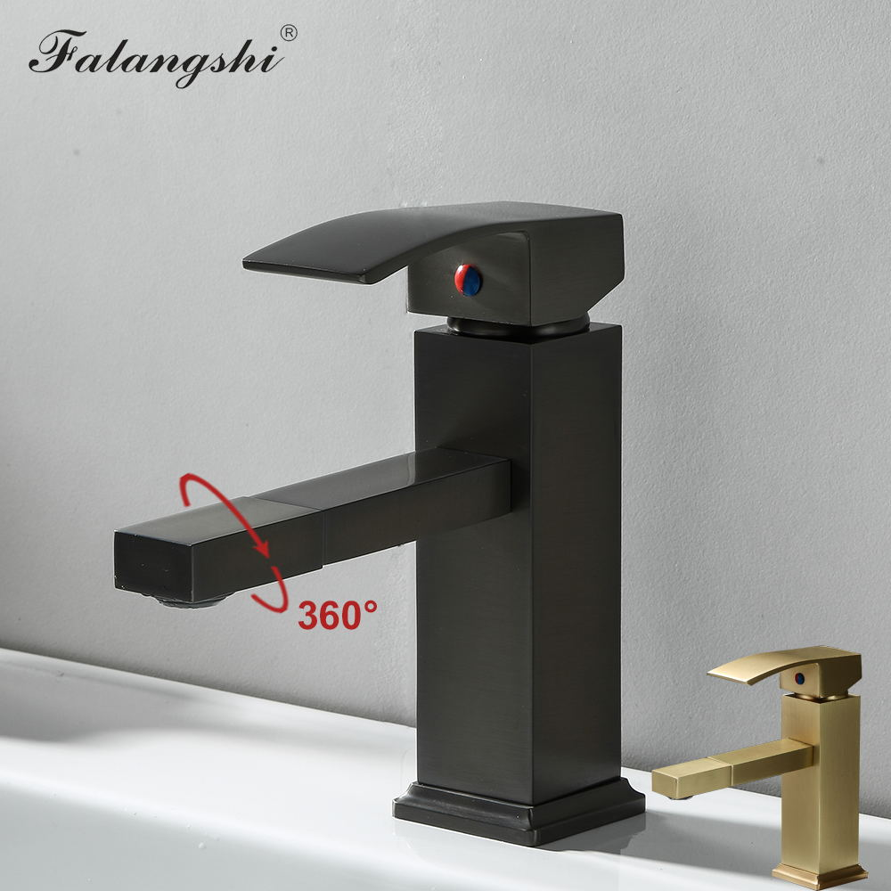 Смеситель для раковины в ванную комнату, поворотный на 360 градусов смеситель для раковины с креплением на раковину, смеситель для горячей и ...