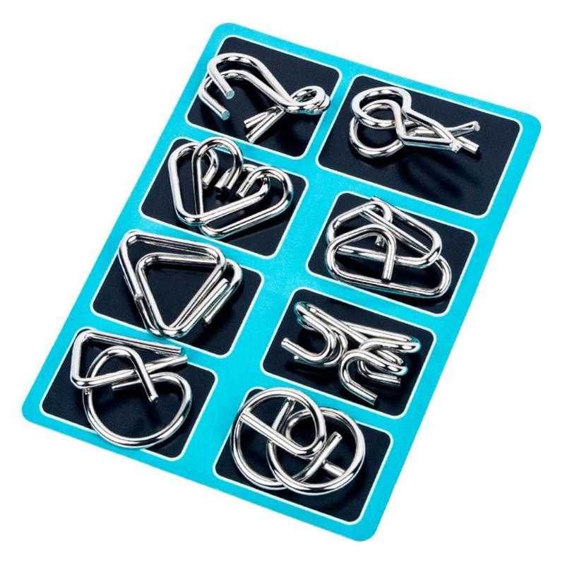8pcs Wear-resistant Toys Classic And Popular Children Adults Anti-Stress Reliever Gift Blue Metal Montessori Wire IQ Toy