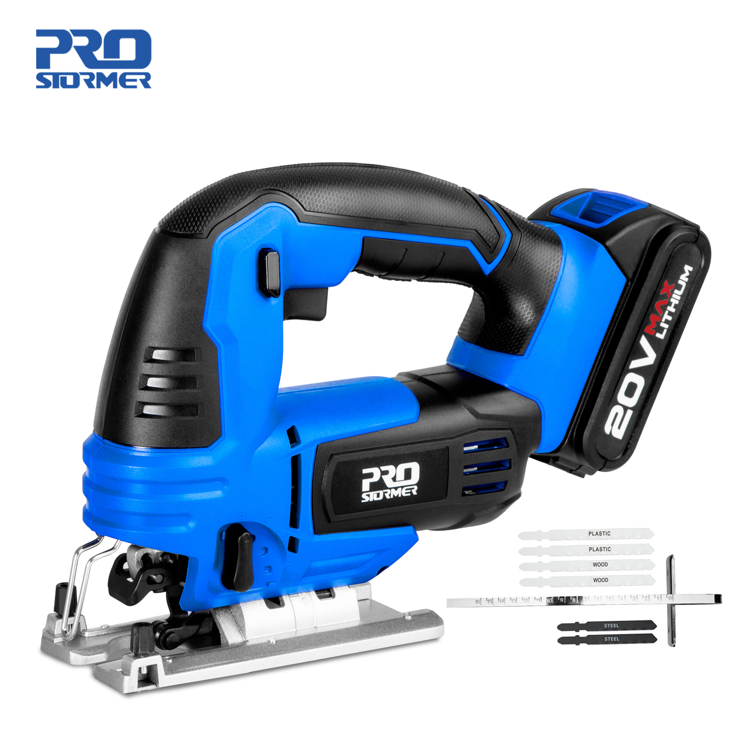 Jig Saw 20V Cordless Jigsaw Quick Blade Change Electric Saw LED Light Guide With 6 Pcs Blades Woodworking Power By PROSTORMER