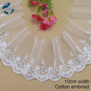 10cm width cotton embroid  lace sewing ribbon guipure trims fabric warp knitting DIY Garment Accessories wedding lace#3498