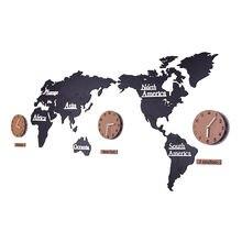 Креативные большие настенные часы наклейки с картой мира 3d